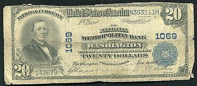 1902  20 The National Metropolitan Bank Of Washington  Dc Charter  1069