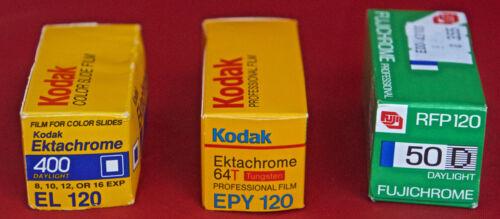 3 Rolls 120 Chrome Outdated Film: EPY120 x 1 1/94, EL120 x 1 7/90  RFP120 6/92.