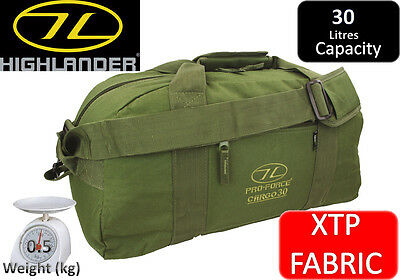 Highlander Cargo 30 Litre Kit Bag / Holdall - Olive Green XTP Fabric , Military