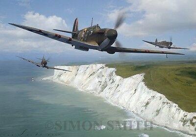 RAF SPITFIRE BATTLE OF BRITAIN GREETINGS BIRTHDAY CARD AVIATION ART MINI PRINT