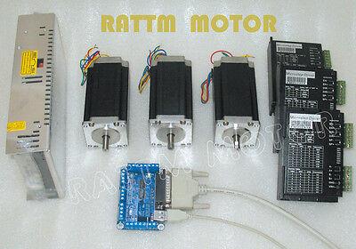 Cnc 3 Axis Nema23 Stepper Motor 425oz-in 3.0a Dual Shaft For Cnc Controller Kit