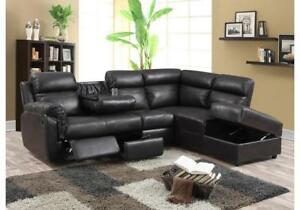 Black sectional recliners with storage chaise  for sale (KA709)