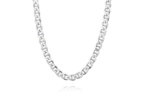 Verona Jeweler 925 Sterling Silver 3.5MM Flat Mariner Link Chain Necklace Unisex