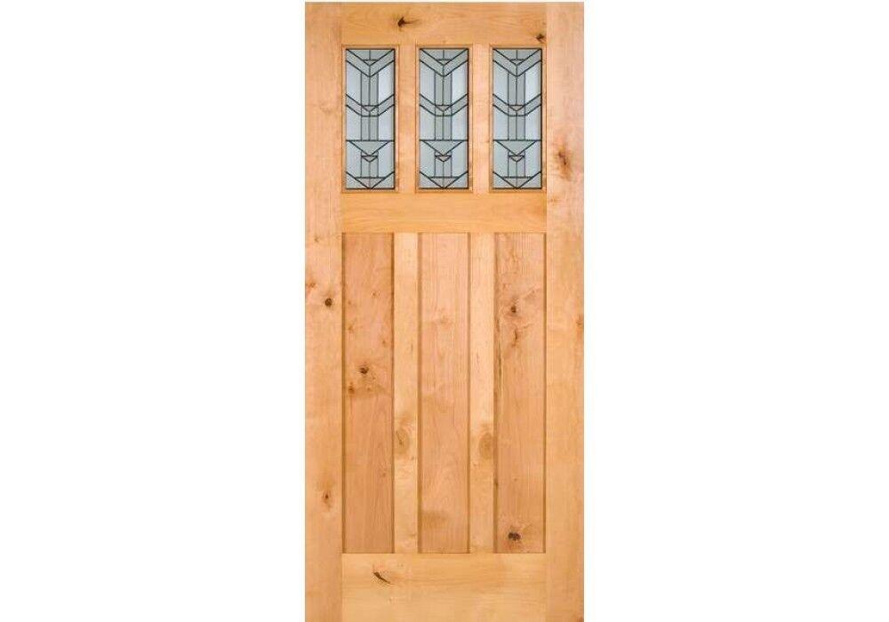 ETO Doors Craftsman Exterior Knotty Alder Wood 3-Lite Entry