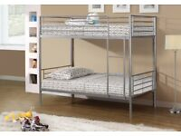 BRAND NEW SINGLE METAL BUNK BED IN SILVER & WHITE WITH MATTRESS