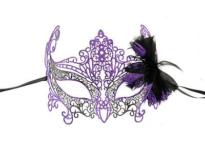 Mask Lace - Metal of Venice Butterfly Purple Gloss Glossy Feathers 729