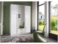 BRANDED GERMAN TRIO 3 DOOR & 4 DOOR WARDROBE AVAILABLE IN BLACK AND WHITE COLOUR