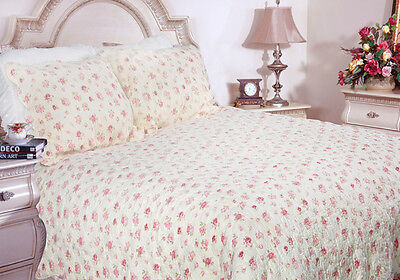 COTTAGE CHIC ANTIQUE ROSE 3-PIECE 100% COTTON QUILT SET, BEDSPREAD, COVERLET