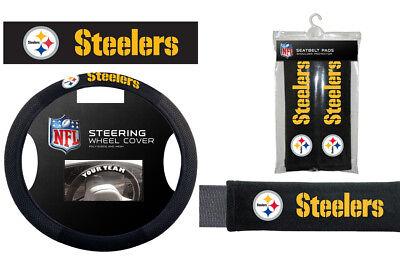 - Pittsburgh Steelers Steering Wheel Cover Poly Mesh Suede Seat Belt Pads Gift Set