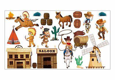 nikima 052 Wandtattoo Wilder Westen Cowboy Indianer 6 vers. Größen Kinderzimmer