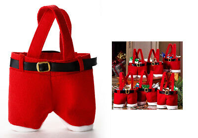 10 PCS Mini Cute Red Santa Suspenders Pants Treat Candy Bags Kids Christmas Gift