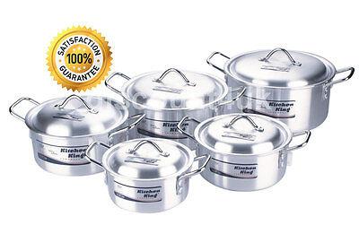 COOKWARE CASSEROLE STOCK SAUCEPAN POT SET LID ALUMINIUM 10PC KITCHEN COOKING PAN