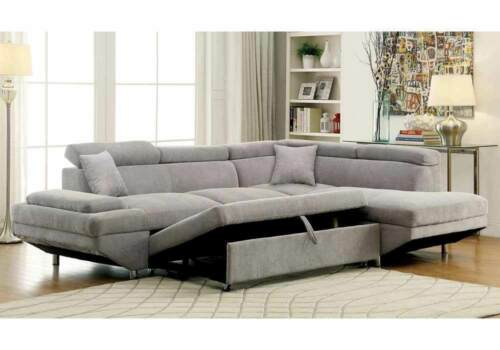 Living Room Furniture Us Made Gray Sectional Sofa Chaise Pull Out Bed Couch New