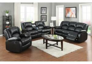 LEATHER 3PC RECLINING SOFA SET WITH IPOD DOCK IN LOVESEAT ABENA 9615 (BD-1352)