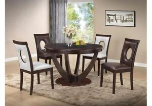 5 PC ROUND DINNING SET WITH GLASS INSERT IN ESPRESSO-ONLINE FURNITURE SALE GUELPH - CALL 905-451-8999 (BF-57)
