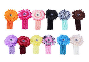 Bundle Monster New 24pc Daisy Flower Clip Crochet Baby Headbands Hair Clips Set