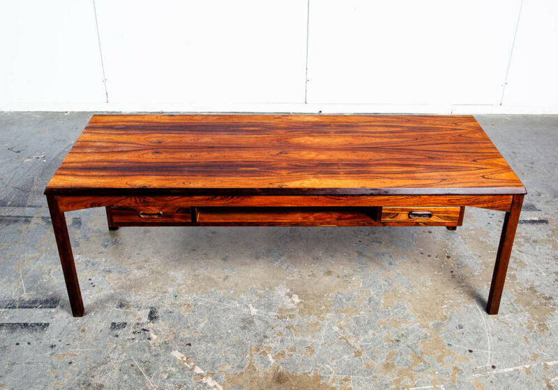Mid Century Danish Modern Coffee Table Brazilian Rosewood Shelf Toften Drawers M