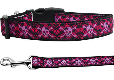 Mirage Hot Pink Plaid Skulls Halloween Nylon Dog Collars and Leash Combo Hot Pink Dog Leash