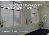 Co-working desk studio/office space at the Tobacco Factory - BS3 (Available April 17th)