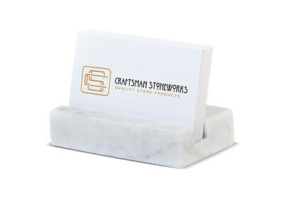 Business Card Holder - White Carrara Marble - Office Desk Home, Recycled Marble