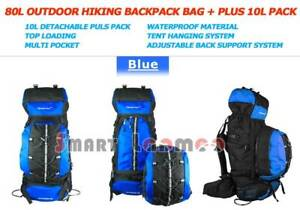 80L Backpack Outdoor Camping Hiking Rucksack Travel Bag Blue