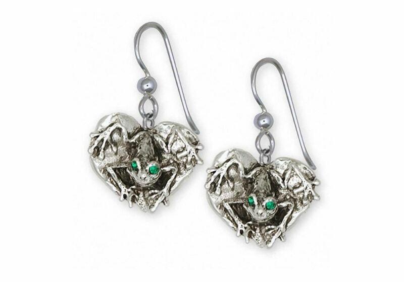 Frog Earrings Jewelry Sterling Silver Handmade Frog Earrings FG23-XE