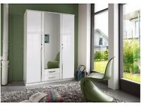 Free Delivery! Brand New Looks! 3 or 4 door wardrobe high gloss white with mirror