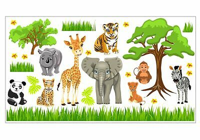 o Baby Tiere Safari Dschungel Savanne Kinderzimmer Sticker (Safari Dschungel)