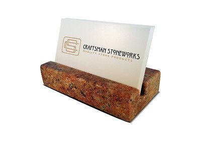 Business Card Holder - Crema Bordeaux Granite - Office Desk Home