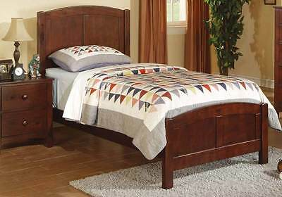 Contemporary Sturdy Youth Kids Bedroom Twin Bed Frame Rubber Wood MDF Dark (Bedroom Oak Bed Frame)