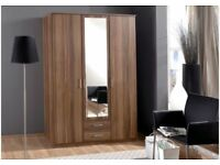 GERMAN BRAND NEW 3 OR 4 DOOR WHITE AND WALNUT OMEGA WARDROBE