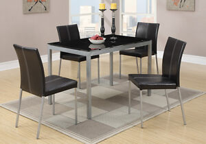 5 PC Black Glass Dining Table Silver Legs 4 Faux Leather Upholstered Chairs