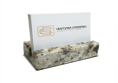 Business Card Holder - Multi-color Granite - Office Desk Home - Recycled Granite