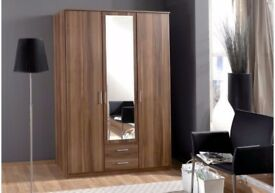 ❤️❤️LOVELY OFFER ❤️ BRAND NEW ❤️ GERMAN OSAKA 3 DOOR WARDROBE AVAILABLE IN WHITE AND WALNUT COLOR !!