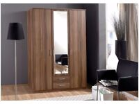 🔅 🔆3/4 DOOR WARDROBE💢BRAND NEW OSAKA IN WHITE AND WALNUT 🔅🔆WITH MIRROR 💢SHELVES AND DRAWERS💢