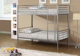 ❤CONVERTIBLE AS 2 SINGLE BEDS❤NEW 3FT SINGLE METAL BUNK BED❤SAME DAY QUICK DELIVERY❤MATTRESS OPTION❤