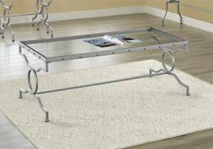 NEW Monarch Specialties I 3324 Silver Metal with Tempered Glass Coffee Table Condtion: New