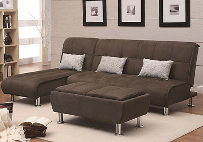 Contemporary Living Room Sofa Futon Bed Adjustable Chaise Sleeper Ottoman Brown
