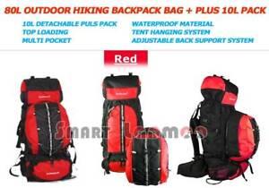 80L Backpack Outdoor Camping Hiking Rucksack Travel Bag 10L Plus