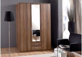 SPECIAL OFFER 3 DOOR + 2 DRAWER WARDROBE - 4 DOOR WARDROBE ALSO AVAILABLE IN WHITE AND WALNUT