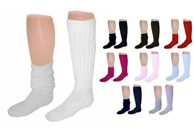 12 Pairs Thick Warm 80s Style Slouch Scrunch Socks Made in USA (Select - 80s Slouch Socks