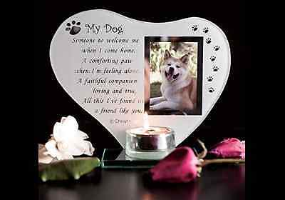 Dog Memorial Plaque Glass my Pet Grave Ornament with Poem candle photo holder