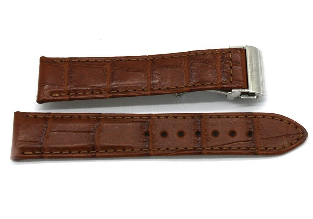 Original Eterna Louisiana Alligator Lederband braun 18 mm Uhrenband mit Schließe