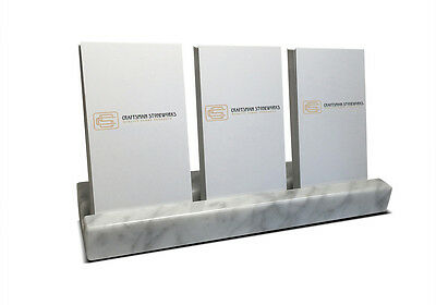 Multiple Vertical Card Holder - White Carrara Marble - Holds 3 Sets Of Cards