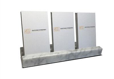 Multiple Vertical Card Holder - White Carrara Marble - Holds 3 Sets Of Cards