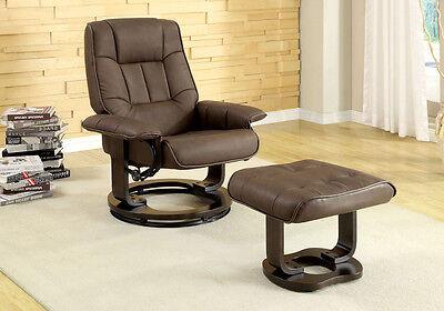 Leatherette Swivel Glider (Cheste Comfort Padded Leatherette Swivel Lounger Chair w/ Ottoman Dark)