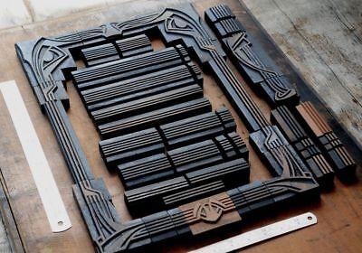 Letterpress Border Wood Printing Blocks Ornaments Decorative Art Nouveau Vintage