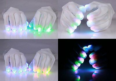 USA SELLER White Rave Gloves, 6 modes, Multicolor LED Fingertip Lights O/S 30202 - Gloving Lights