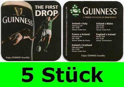 5 Stück Bierdeckel Guinness Irish Rugby Dublin Irland Bar Party Theke Tresen
