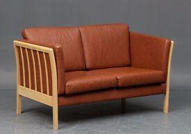 Danish vintage brown leather 2-seater sofa